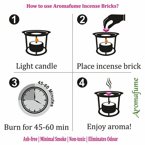Aromafume Seven Chakras Sample Kit - Om Exotic Incense Diffuser + Aromafume Fusion 7 Chakra Incense Bricks