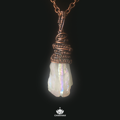 Angel Aura Quartz Wire Wrapped Necklace