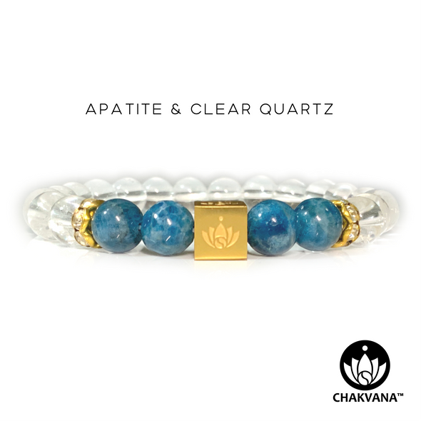 CHAKVANA™ Apatite & Clear Quartz 8mm Gemstone Bead Bracelet - Front View