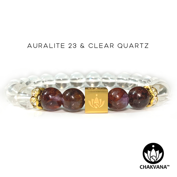 CHAKVANA™ Auralite 23 & Clear Quartz 8mm Gemstone Bead Bracelet - Front View
