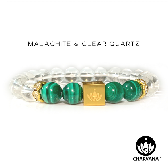 CHAKVANA™ Malachite & Clear Quartz 8mm Gemstone Bead Bracelet - Front View