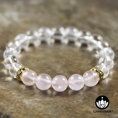 8mm Round Bead Bracelet | 14K Gold Plated | Clear Quartz with Rose Quartz