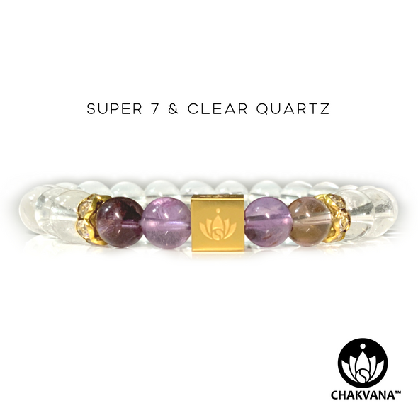 CHAKVANA™ Super 7 & Clear Quartz 8mm Gemstone Bead Bracelet – Front View