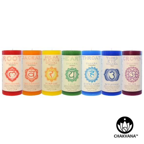Crystal Journey Candles - Chakra Pillar Candles - Set of 7 Chakra Candles. Available at CHAKVANA.COM