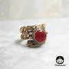 Ring with polished Carnelian round gemstone and decorative braided multi-metal ring band. – Chakvana.com