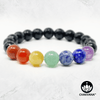 7 Chakras & Faceted Black Onyx - 8mm Gemstone Bead Bracelet – Chakvana.com
