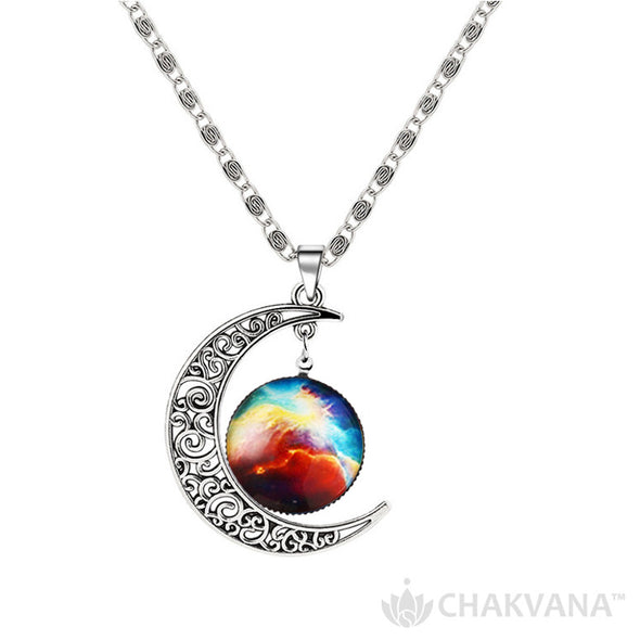 Cosmic Nebula Waning Crescent Moon Pendant Necklace