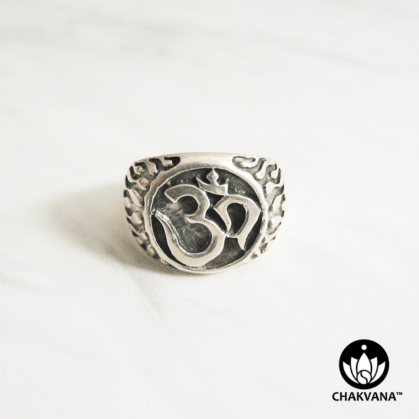 Flaming Om Sterling Silver Ring (Size 7.75). Two tone sterling silver ring with Om symbol and flames. – Chakvana.com