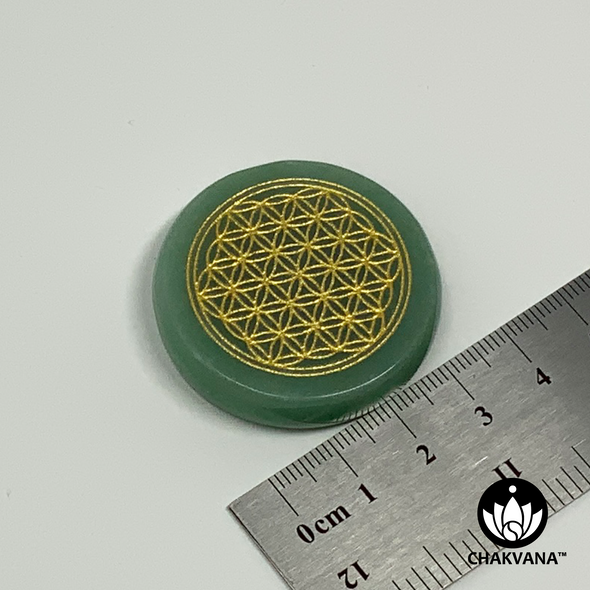 Flower of Life – Green Aventurine Good Luck Palm Stone – Chakvana.com