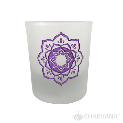 Frosted Glass Votive Candle Holder | Lotus