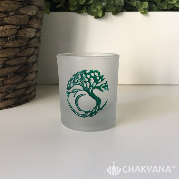 Frosted Glass Votive Candle Holder | Tree of Life