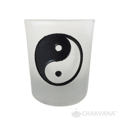 Frosted Glass Votive Candle Holder | Yin Yang Symbol
