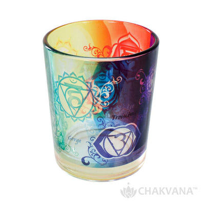 Glass Votive Candle Holder | 7 Chakras