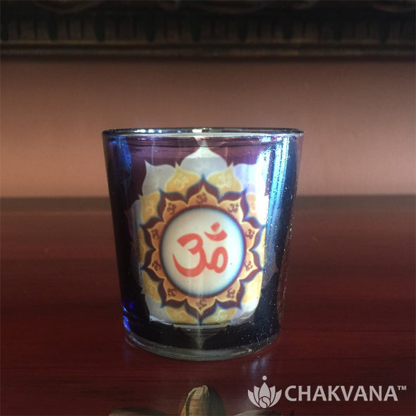 Glass Votive Candle Holder | Om-Lotus