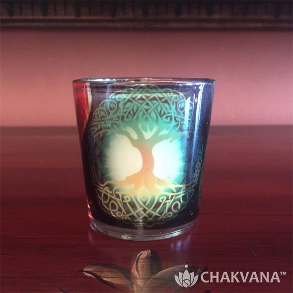 Glass Votive Candle Holder | Tree of Life