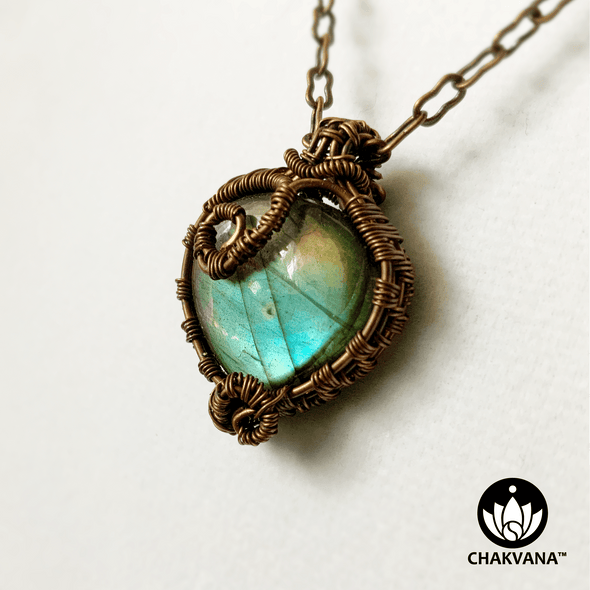 Copper Wire Wrapped Heart Shaped Labradorite Necklace