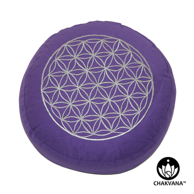 Meditation Cushion | Flower of Life | Purple and Silver