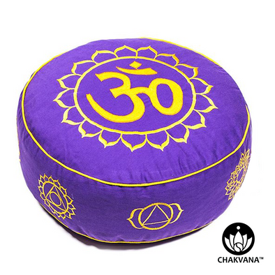 Gold and Violet Meditation Cushion with Om Symbol on top and 7 chakra symbols along the side. Available at www.chakvana.com
