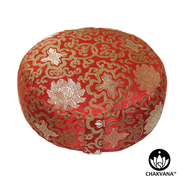 Meditation Cushion - Red and Gold Lotus