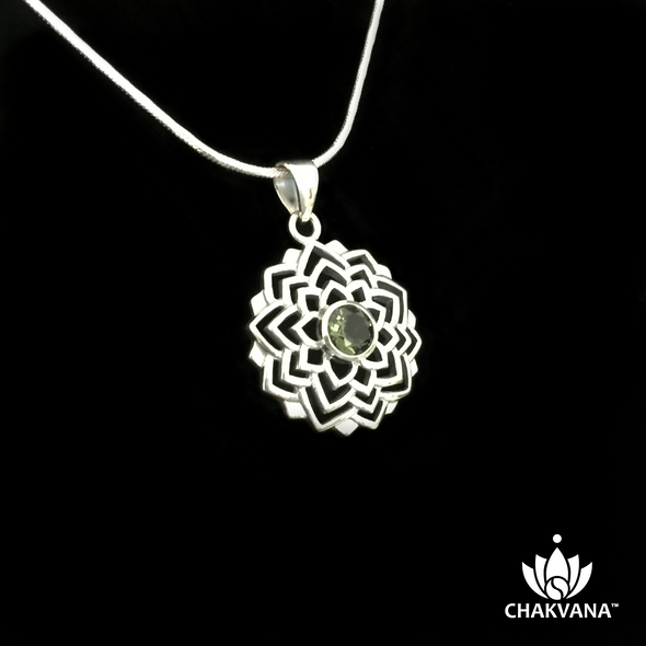CHAKVANA Moldavite Flower Necklace