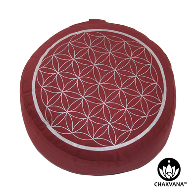 Meditation Cushion | Flower of Life | Red and Silver