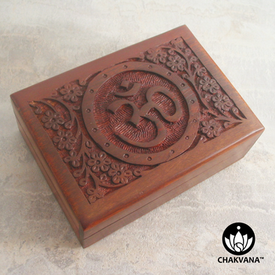 Filigree Wood Storage Box with Om Symbol