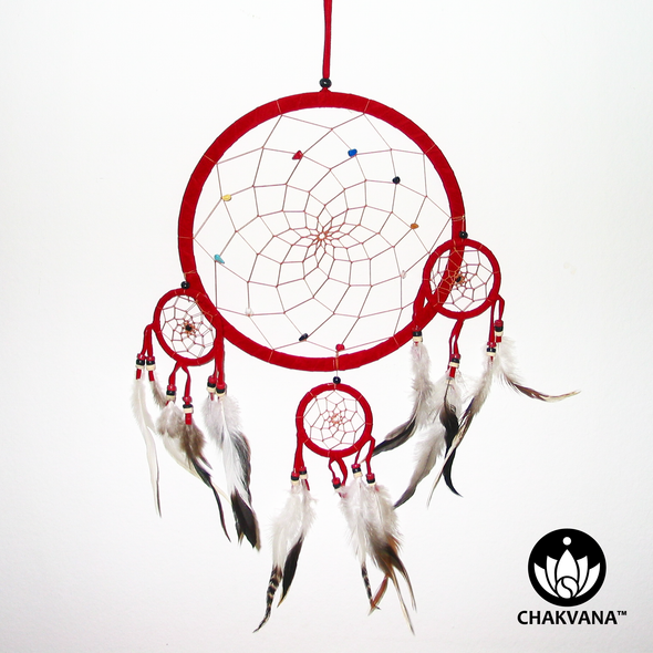 "8.5"" Red Dreamcatcher with three 2.5"" mini dreamcatchers attached."