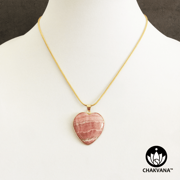 Rhodochrosite Heart Pendant Necklace