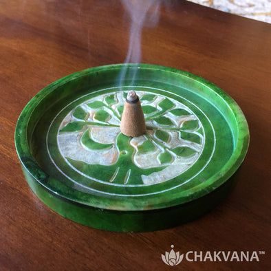 Round Soapstone Incense Burner | Tree of Life
