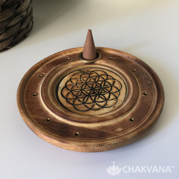 Round Wood Incense Burner - Flower of Life
