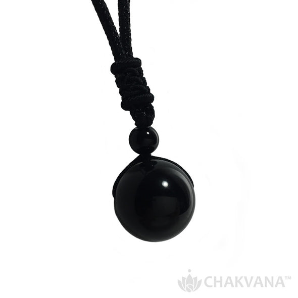 Black Obsidian Ball Pendant Necklace