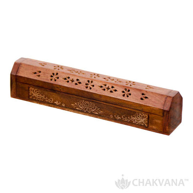 Wood Incense Burner and Incense Storage Box | Lotus Flower