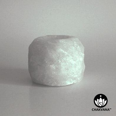 "White Himalayan Crystal Salt Tea Light Holder, 2¼"" tall, 14 oz."