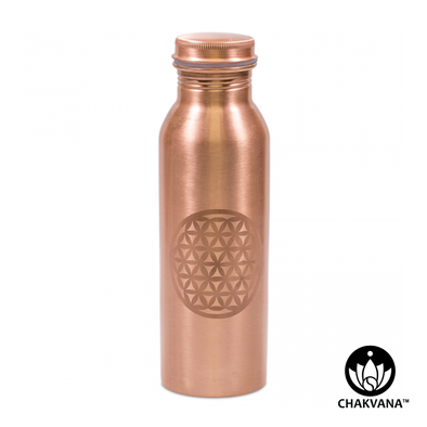750ml Copper Water Bottle with Laser Etched Flower of Life Symbol