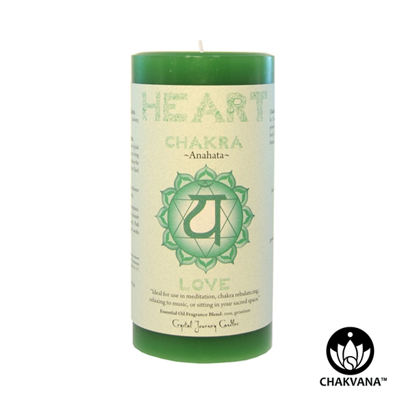 "Crystal Journey Candles 3"" x 6"" Heart Chakra Pillar Candle"