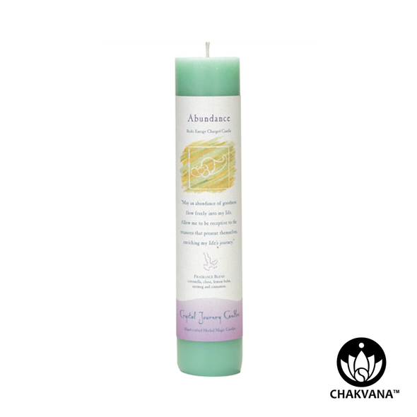 "Crystal Journey Candles Herbal Magic Pillar ""Abundance"""