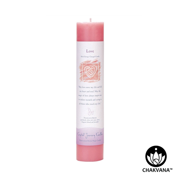 "Crystal Journey Candles Herbal Magic Pillar ""Love"""