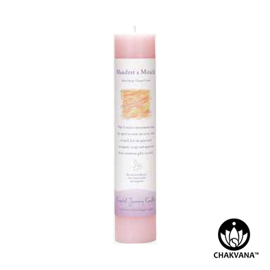 "Crystal Journey Candles Herbal Magic Pillar ""Manifest A Miracle"""