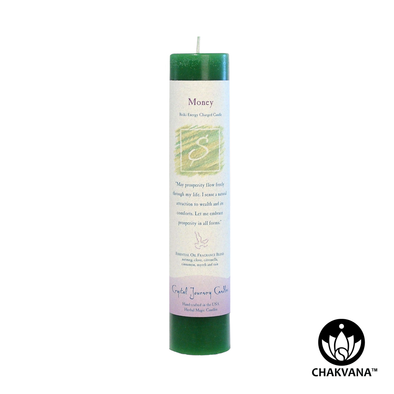"Crystal Journey Candles Herbal Magic Pillar ""Money"""