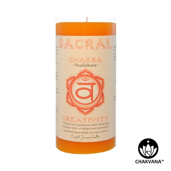 "Crystal Journey Candles 3"" x 6"" Sacral Chakra Pillar Candle"