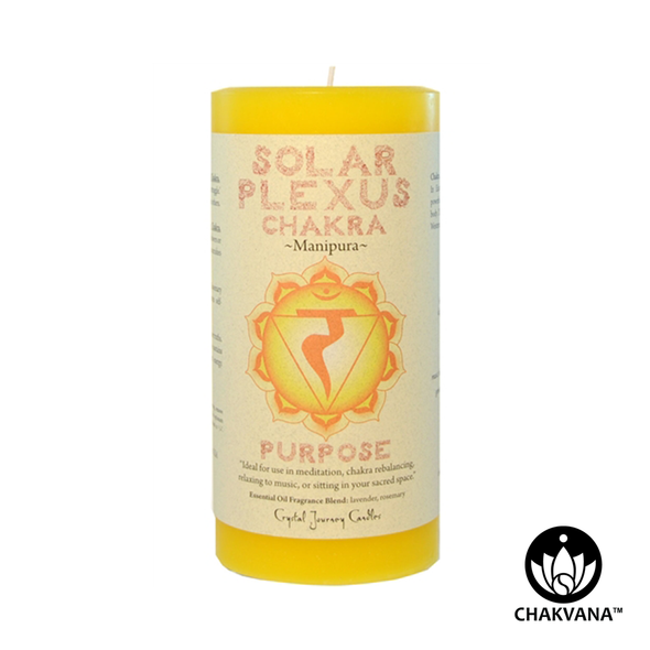 "Crystal Journey Candles 3"" x 6"" Solar Plexus Chakra Pillar Candle"