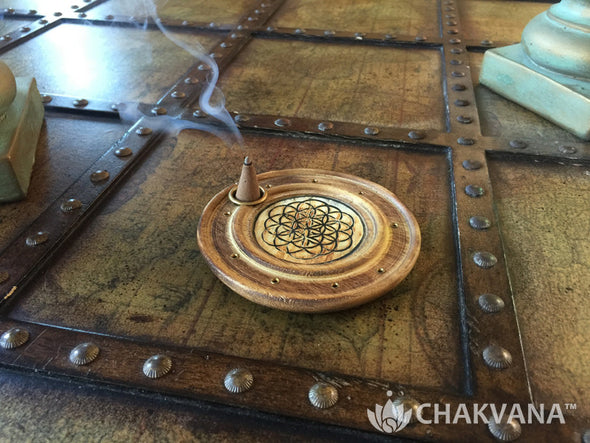 Round Wood Incense Burner | Flower of Life