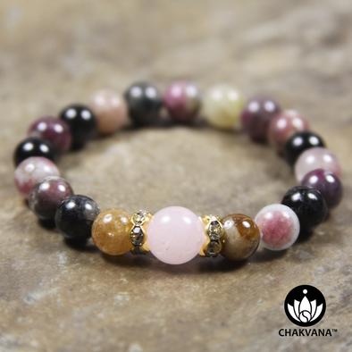 8mm Round Bead Bracelet | 14K Gold Plated | Elbaite Multicolored Tourmaline with 10mm Rose Quartz Bead