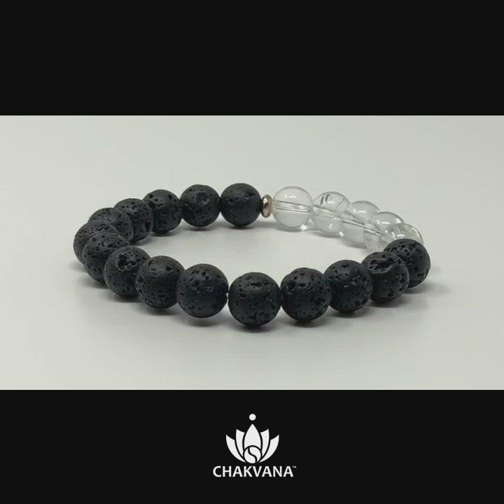 Video of Clear Quartz & Lava Stone 8mm Gemstone Bead Bracelet – Chakvana.com