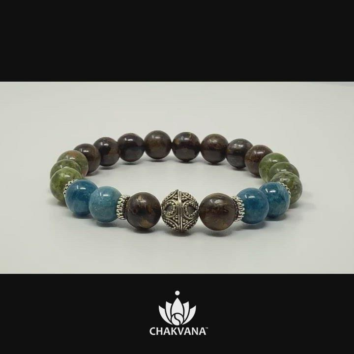 "Video of ""Manifestation"" - Apatite, Unakite & Bronzite - 8mm Gemstone Bead Bracelet with Bali Bead – Chakvana.com"