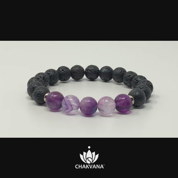 Video of Purple Fluorite & Black Lava Stone 8mm Gemstone Bead Bracelet – Chakvana.com