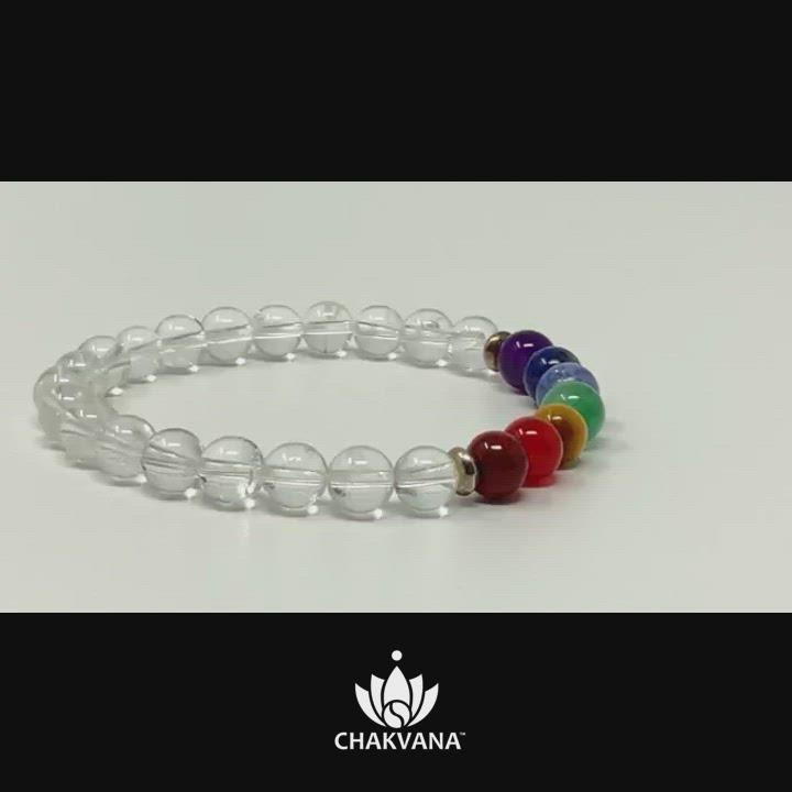 Video of CHAKVANA 7 Chakras & Clear Quartz - 6mm Gemstone Bead Bracelet – Chakvana.com