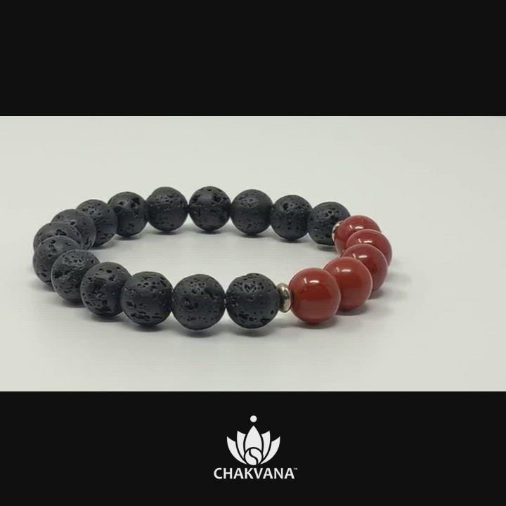 Video of Red Jasper & Black Lava Stone - 8mm Gemstone Bead Bracelet – Chakvana.com
