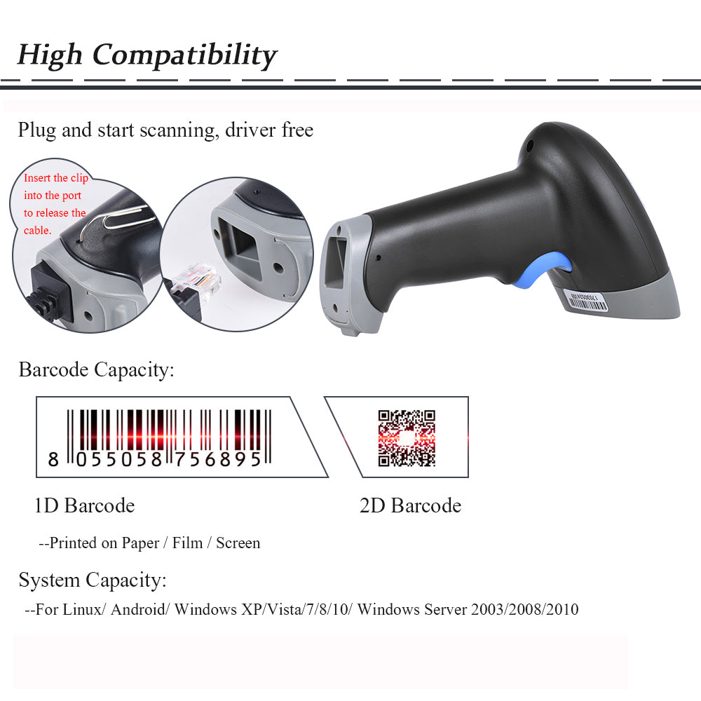 2D QR 1D USB Barcode Scanner CCD Red Light PDF417 Screen Scanning Bar Code  Reader Multiple Language for Mobile Payment market