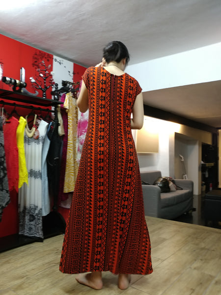 Chinese Pattern in Red Long Dress